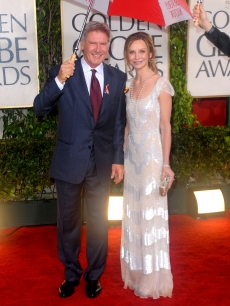 Harrison Ford and Calista Flockhart arrive at the 67th Annual Golden Globe Awards held at The Beverly Hilton Hotel on January 17, 2010