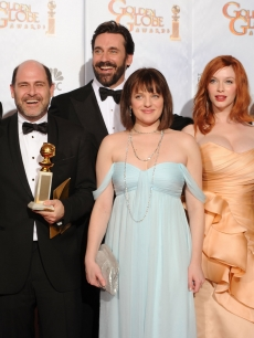 Matthew Weiner and the cast of 'Mad Men' with their award for Best Television Series - Drama at the 67th Annual Golden Globe Awards at the Beverly Hilton Hotel in Beverly Hills, Calif., on January 17, 2010