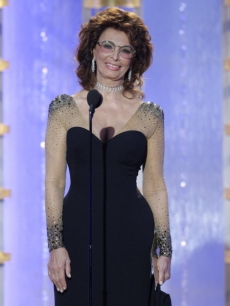 Presenter Sophia Loren speaks on stage during the 67th Annual Golden Globe Awards held at the Beverly Hilton Hotel on January 17, 2010