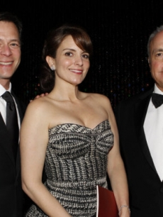 Jeff Gaspin, Chairman, NBC Universal Television Entertainment, Tina Fey and Lorne Michaels strike a pose inside the Golden Globes, Beverly Hills, Jan. 17, 2010