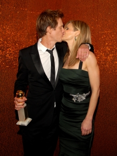 Kevin Bacon gets a congratulatory kiss from wife Kyra Sedgwick at the HBO Golden Globe Awards after party at Circa 55 Restaurant at the Beverly Hilton Hotel on January 17, 2010 in Beverly Hills