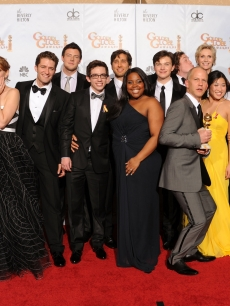 The cast of 'Glee' poses with show creator Ryan Murphy backstage at the 2010 Golden Globes