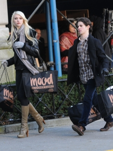 Taylor Momsen and Connor Paolo are seen on the  set of the 'Gossip Girl' in NYC, Jan. 18, 2010