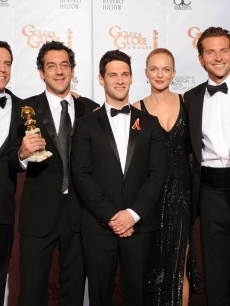 Ed Helms, Justin Bartha, director Todd Phillips, actress Heather Graham, actor Bradley Cooper and former boxer Mike Tyson pose with the Best Motion Picture, Comedy or Musical award for 'The Hangover' in the press room at the 67th Annual Golden Globe Awards held at The Beverly Hilton Hotel on January 17, 2010 in Beverly Hills, California.