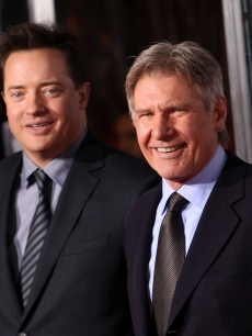 Brendan Fraser and Harrison Ford arrive to the 'Extraordinary Measures' Los Angeles Premiere at Grauman's Chinese Theatre on January 19, 2010 in Hollywood, California.