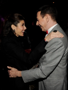 Actors Marisa Tomei and Paul Reubens smile adoringly at each other at the opening night of 'The Pee-wee Herman Show' in Club Nokia at L.A. Live on Jan. 20, 2010 in Los Angeles, Calif.