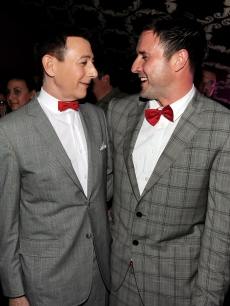 Actors Paul Reubens and David Arquette pose together at the opening night of 'The Pee-wee Herman Show' at Club Nokia at L.A. Live, Jan. 20, 2010 in Los Angeles, Calif.