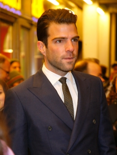 A dapper Zachary Quinto attends the opening night of &#8216;Present Laughter&#8217; at the American Airlines Theatre, NYC, January 21, 2010