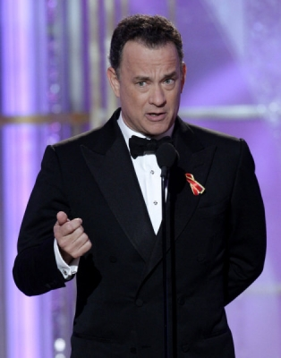 Tom Hanks takes the stage at the Golden Globes, Beverly Hills, Jan. 17, 2010