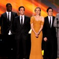 The cast of &#8216;Inglourious Basterds&#8217; takes home the award for Outstanding Cast in a Motion Picture at the 16th Annual Screen Actors Guild Awards at the Shrine Auditorium in LA on January 23, 2010