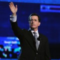 Stephen Colbert, winner of Best Comedy Album, salutes the crowd at the 52nd Annual Grammy Awards at Staples Center in LA on January 31, 2010