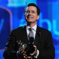 Stephen Colbert accepts his Grammy for Best Comedy Album at the 52nd Annual Grammy Awards at Staples Center in LA on January 31, 2010