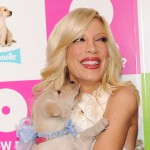Tori Spelling celebrates Thomas Crapper Day with a furry friend at ABC Studios on January 27, 2010 in New York City