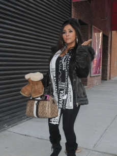 Nicole 'Snooki' Polizzi of the MTV's 'Jersey Shore' is spotted leaving 'The Wendy Williams Show' on January 21, 2010 in New York City