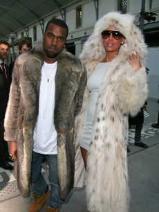 Kanye West and Amber Rose are spotted at the Louis Vuitton fashion show during Paris Menswear Fashion Week Autumn/Winter 2010 at Le 104 on January 21, 2010 in Paris, France
