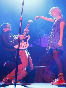 Rivers Cuomo of Weezer and Hayley Williams of Paramore perform