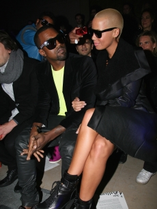 Kanye West and Amber Rose attend the John Galliano fashion show during Paris Menswear Fashion Week Autumn/Winter 2010, Paris, France, January 22, 2010