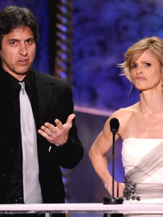 Ray Romano and Kyra Sedgwick onstage at the 16th Annual Screen Actors Guild Awards held at the Shrine Auditorium on January 23, 2010 in Los Angeles, California