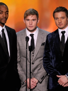 Anthony Mackie, Brian Geraghty and Jeremy Renner speak onstage at the 16th Annual Screen Actors Guild Awards held at the Shrine Auditorium on January 23, 2010 in Los Angeles, California