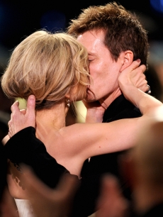 Kyra Sedgwick and Kevin Bacon celebrate the actor's win at the 16th Annual Screen Actors Guild Awards held at the Shrine Auditorium on January 23, 2010 in Los Angeles, California