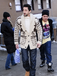 Adrien Brody steps out in his reindeer sweater at Sundance, Park City, Utah, Jan. 24, 2010