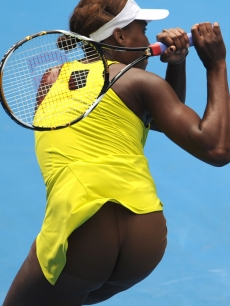 Venus Williams on the court during Day 10 of the Australian Open in Melbourne, Australia on January 27, 2010
