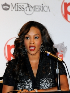 Vivica A. Fox speaks out at the 2010 Miss America Pageant news conference at Planet Hollywood Resort and Casino in Las Vegas on January 27, 2010