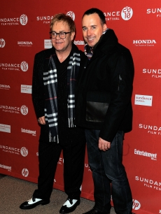 Sir Elton John and David Furnish attend the 'Nowhere Boy' premiere at Eccles Center Theatre during the 2010 Sundance Film Festival on January 27, 2010