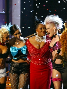 Christina Aguilera, Mya, Patti Labelle, Pink and Lil' Kim at the 44th Annual Grammy Awards at the Staples Center in Los Angeles, Calif., February 27, 2002