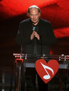 Neil Young takes the stage at the 2010 MusiCares Person of the Year Tribute to himself in LA on January 29, 2010