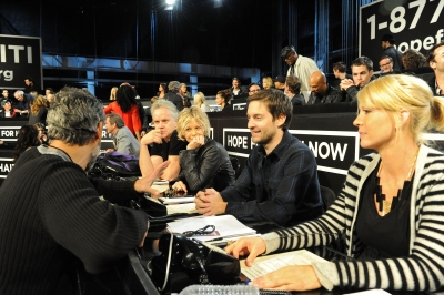 Meg Ryan and Tobey Maguire at the &#8216;Hope for Haiti Now: A Global Benefit for Earthquake Relief&#8217; event in Los Angeles, Calif. on January 22, 2010