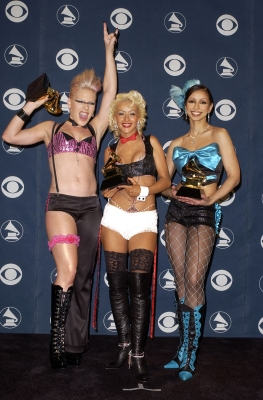Pink, Christina Aguilera & Mya at the 2002 Grammy Awards
