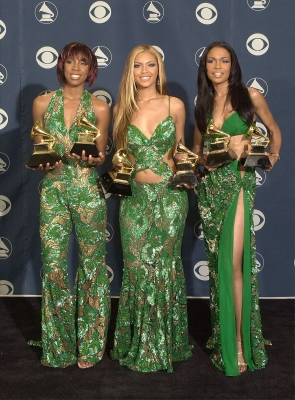 Destiny&#8217;s Child poses backstage with their awards at the 43rd annual Grammy Awards February 21, 2001 at Staples Center in Los Angeles, CA. The group won an award for Best R&amp;B Performance by a Duo or Group.