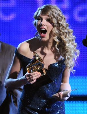 Taylor Swift takes home the award for Album of the Year for 'Fearless' at the 52nd Annual Grammy Awards at Staples Center in LA on January 31, 2010