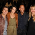 Tom Cruise, Katie Holmes, Alex Rodriguez and Cameron Diaz pose for a photo at the CAA Super Bowl Party at the W Hotel - South Beach in Miami Beach, Fla., on February 6, 2010