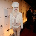 A powdered Lady Gaga makes the scene at the amfAR New York Gala co-sponspored by M.A.C. Cosmetics to kick off Fall 2010 Fashion Week a Cipriani 42nd St. in NYC on February 10, 2010