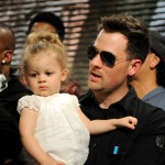 Good Charlotte&#8217;s Joel Madden and daughter Harlow Madden perform at the &#8216;We Are The World: 25 Years for Haiti&#8217; recording session held at Jim Henson Studios in Hollywood, Calif. on February 1, 2010
