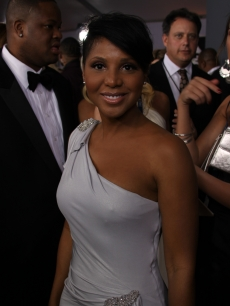 Toni Braxton on the red carpet at the Grammys, Los Angeles, January 31, 2010