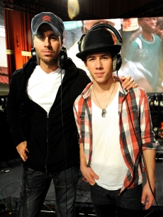 Enrique Iglesias and Nick Jonas spotted taking a break at the 'We Are The World 25 Years for Haiti' recording session held at Jim Henson Studios on February 1, 2010 in Hollywood, California