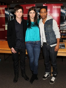 Logan Lerman, Alexandra Daddario, and Brandon T. Jackson promote 'Percy Jackson And The Olympians: The Lightning Thief' at Borders Kips Bay on February 3, 2010 in New York City