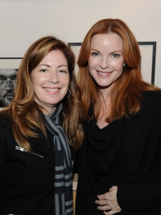 Dana Delany and Marcia Cross share a moment at the Step Up To Benefit Homeless Youth Fundraiser presented by StandUp for Kids-LA at the G2 Gallery in Venice, Calif., on February 6, 2010