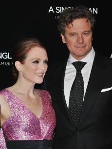 Julianne Moore and Oscar first-time nominee Colin Firth pose as they attend &#8216;A Single Man&#8217; Paris premiere at Cinema UGC Normandie on February 9, 2010