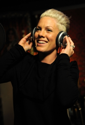 Pink performs at the 'We Are The World: 25 Years for Haiti' recording session held at Jim Henson Studios in Hollywood, Calif. on February 1, 2010