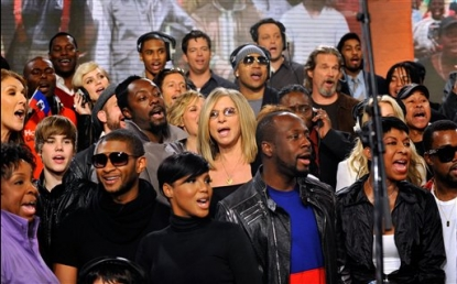 "Celine Dion, Justin Bieber, Usher, Katharine McPhee, will.i.am, Toni Braxton, Barbra Streisand and other perform at the ""We Are The World 25 Years for Haiti"" on February 1, 2010 in LA"