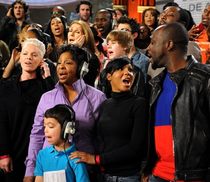 Pink, Gladys Knight, Celine Dion, Justin Bieber, Toni Braxton, Wyclef Jean and more perform at the 'We Are The World 25 Years for Haiti' recording session held at Jim Henson Studios on February 1, 2010 in Hollywood, Calif.