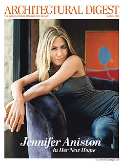 Jennifer Aniston relaxes at her Beverly Hills home on the March 2010 cover of Architectural Digest