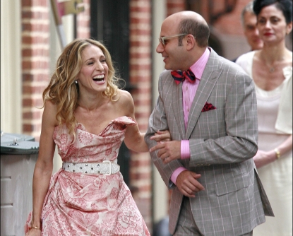 Sarah Jessica Parker and Willie Garson spotted filming a scene for 'Sex and The City' on location in the West Village on October 1, 2007 in New York City