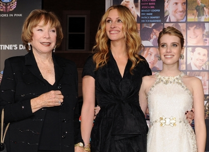 Shirley MacLaine, Julia Roberts and Emma Roberts attend the premiere of 'Valentine's Day' held at Grauman's Chinese Theatre in Los Angeles, Calif. on February 8, 2010