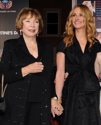 Shirley MacLaine and Julia Roberts at the Los Angeles premiere of 'Valentine's Day,' February 8, 2010