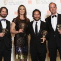 Mark Boal, Kathryn Bigelow, Niolas Chartier and Greg Shapiro celebrate their Best Film win for 'The Hurt Locker' at the BAFTA Awards in London, England on February 21, 2010